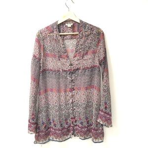 Converse one star floral boho long sleeve blouse